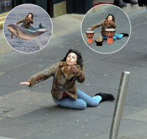 "In October 2012, Scarlett Johansson was pictured falling down while filming a movie in Scotland. No big deal, right? Cut to September 2013, when one Reddit user posted the image and it quickly became Photoshop fodder, spawning what BuzzFeed called ""The Best New Meme in Years,"" as Johansson appeared playing the bongos, riding a dolphin, and much more. (Stockpix/INFphoto)"